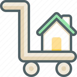 building, cart, estate, home, house, luggage, trolley icon