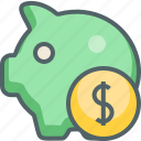 arrow, bank, dollar, finance, payment, piggy, save icon