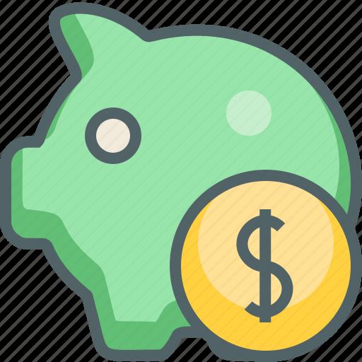 arrow, bank, dollar, finance, payment, piggy, save icon