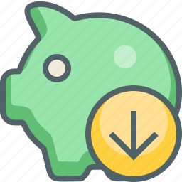 arrow, bank, down, download, guardar, piggy, receive, save icon