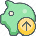 arrow, bank, guardar, piggy, save, send, up, upload icon