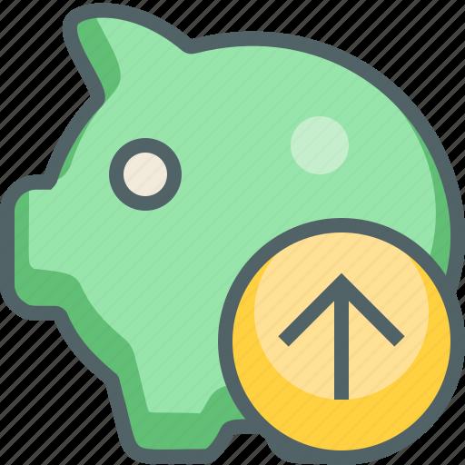 arrow, bank, guardar, piggy, save, send, up, upload icon