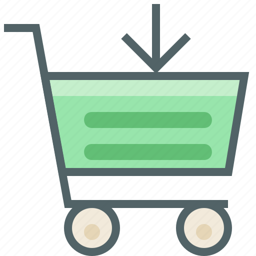 arrow, cart, down, download, receive, shopping, trolley icon
