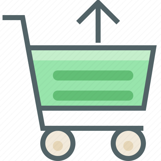 arrow, cart, send, shopping, trolley, up, upload icon