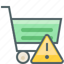 alert, cart, caution, damage, shop, shopping, warning icon