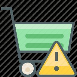 alert, cart, caution, damage, shop, shopping, warning icon