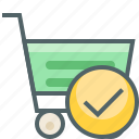 accept, cart, check, mark, shopping, success, trolley icon