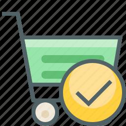 accept, cart, check, mark, shopping, success, trolley icon