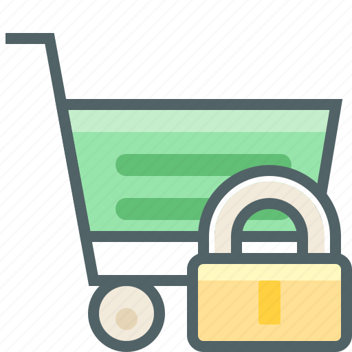 cart, lock, protection, safe, secure, shopping, trolley icon