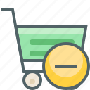 cart, close, delete, minus, remove, shopping, trolley icon