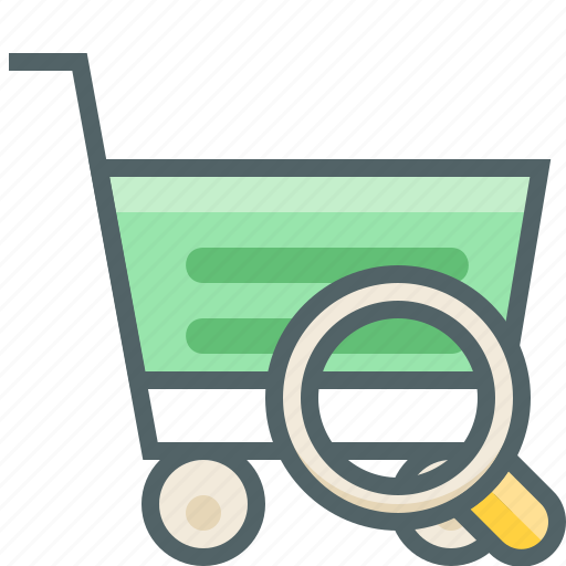 cart, find, glass, magnifier, search, shopping, trolley icon
