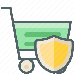 cart, protection, safe, security, shield, shopping, trolley icon