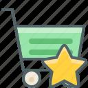 cart, shopping, star, bookmark, favorite, like, trolley