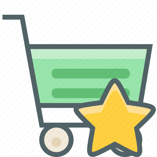 bookmark, cart, favorite, like, shopping, star, trolley icon
