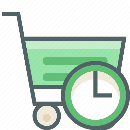 alarm, cart, clock, shopping, time, timer, trolley icon