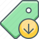 arrow, down, label, price, shop, shopping, tag icon