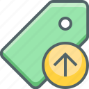 arrow, label, price, send, tag, up, upload icon