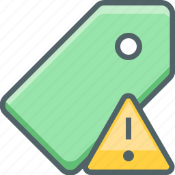 alert, caution, danger, label, price, tag, warning icon