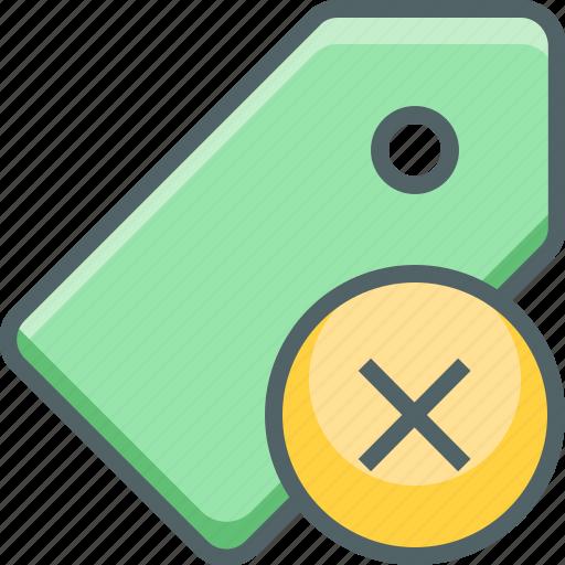 cancle, close, delete, label, price, remove, tag icon