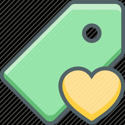 bookmark, favorite, heart, label, love, price, tag icon