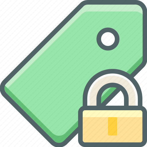 label, lock, price, protection, safe, secure, tag icon