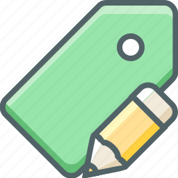 edit, label, pencil, price, shopping, tag, write icon