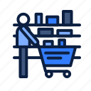 aisle, cart, commerce, person, shopping, supermarket icon