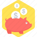 guardar, money, piggy bank, save, savings icon