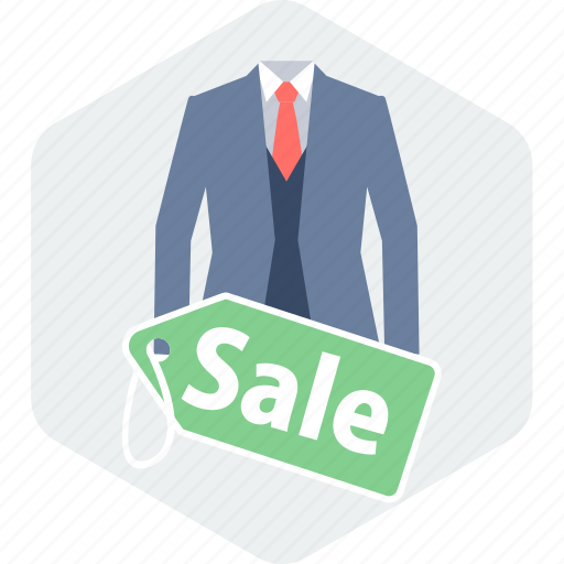 cloth, clothing, label, man, sale, suit, tag icon