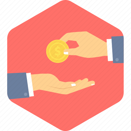 dollar, hand, in, money, payment icon
