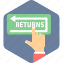 return, returns, shopping icon