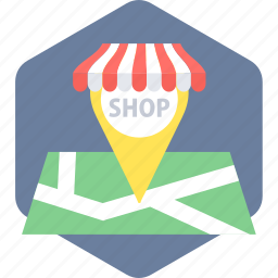gps, location, map, navigation, shop, shopping icon