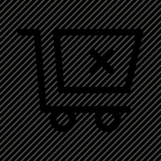 cart, commerce, delete, market, shop, supermarket icon