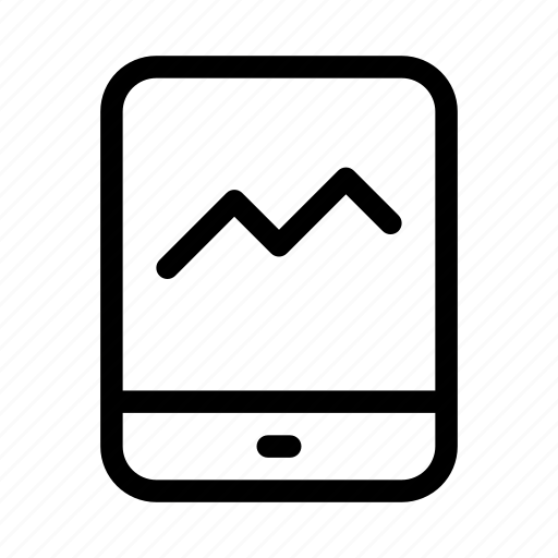 chart, commerce, line, market, shop, supermarket, tablet icon
