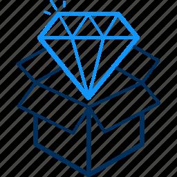 box, diamond, gift, present icon