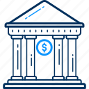 bank, building, financial, institution, stock house, treasury icon