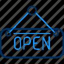 board, open, sign, road