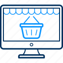 basket, computer, screen, shopping, website icon