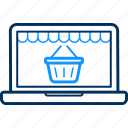 basket, display, laptop, online, screen, web icon