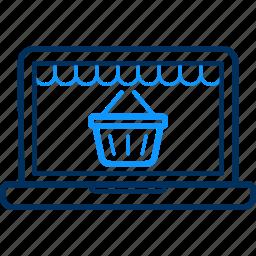 basket, display, laptop, online, screen, web icon