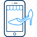 app, footwear, mobile, sandal, shop, shopping icon