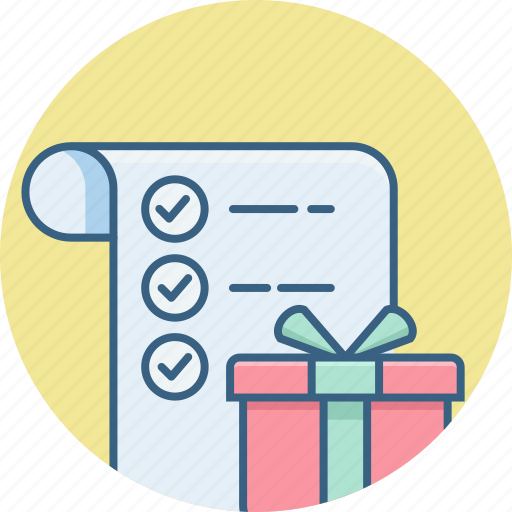 buy, gift, item, items, list, present, shopping icon
