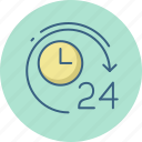 customer, helpline, hours, service, support, twenty four icon