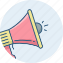 advertising, announce, announcement, bullhorn, megaphone, speaker icon