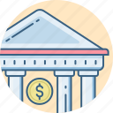 bank, banking, building, financial, institution, treasury icon