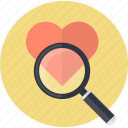 browse, favorite, find, flat design, heart, product, search icon