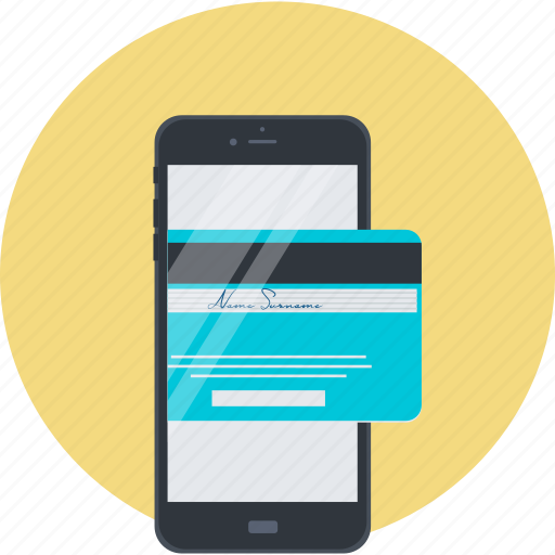 credit card, flat design, m-banking, m-commerce, mobile, payment, shopping icon