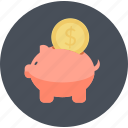 e-commerce, money, piggy bank, round, save, shopping, guardar icon