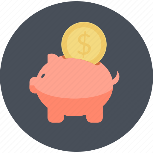 e-commerce, flat design, guardar, money, piggy bank, round, save, shopping icon