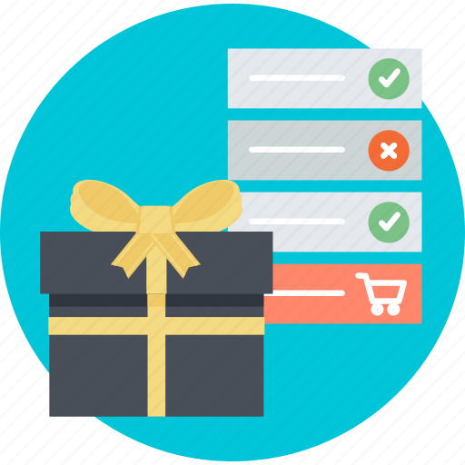 e-commerce, flat design, gift, list, online, shopping, wish icon